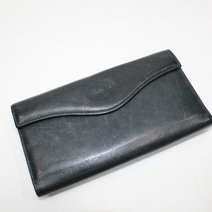 Vintage Buxton Black Leather Kiss Lock Wallet